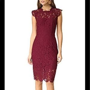 Rachel Zoe Suzette Lace Cocktail Dress Maroon 4